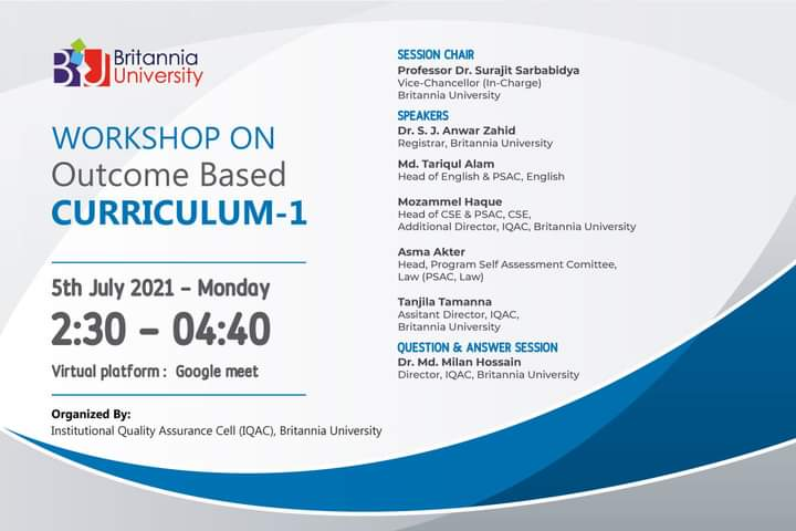 """Virtual Workshop on """"Outcome Based Curriculum I"""""""